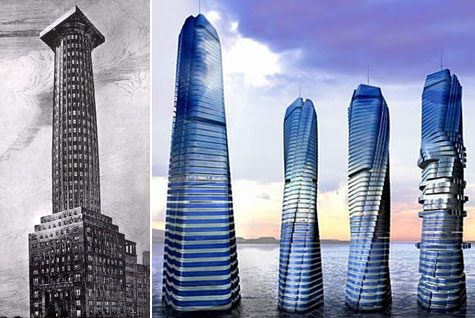 chicago tribune entry by loos and rotating tower dubai